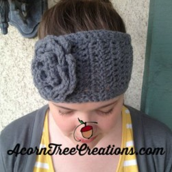 Annabelle Chunky Thick Headwarmer with Flower crochet pattern
