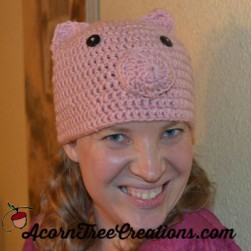 Crochet pig hat pattern