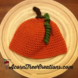 Crochet Pumpkin Hat with Curlycue Leaf Pattern