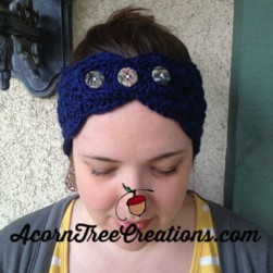 Elsa 3 Button Headwarmer Navy