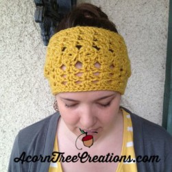 Olivia Vintage Wide Headwarmer Mustard Yellow Crochet Pattern